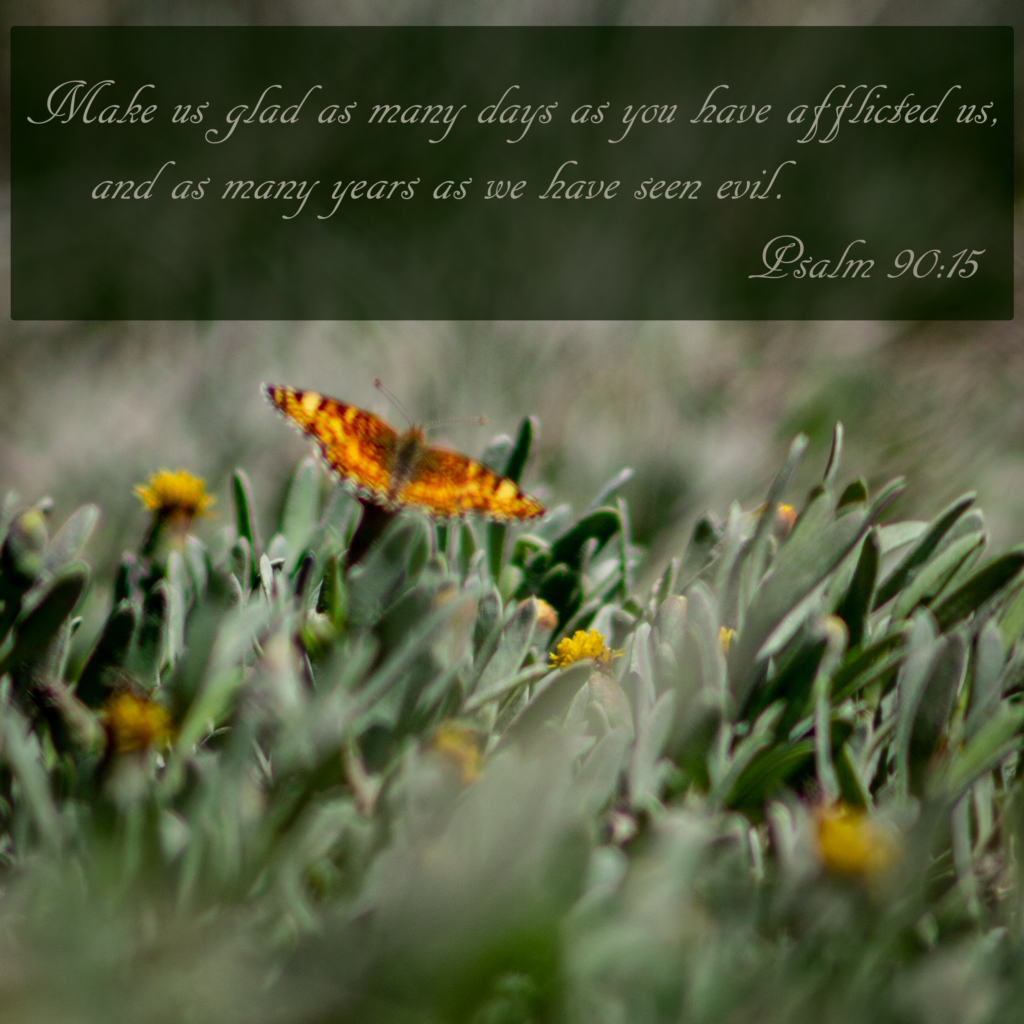 Make us glad as many days as you have afflicted us,     and as many years as we have seen evil. Psalm 90:15