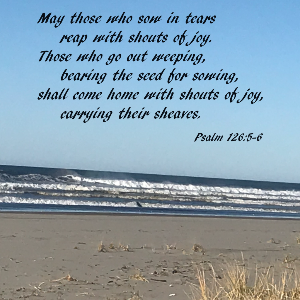 May those who sow in tears     reap with shouts of joy. 6 Those who go out weeping,     bearing the seed for sowing, shall come home with shouts of joy,     carrying their sheaves. Psalm 126:5-6