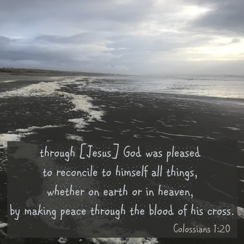 through him God was pleased to reconcile to himself all things, whether on earth or in heaven, by making peace through the blood of his cross. Colossians 1:20